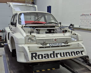 Metro 6R4 rally car at the JEMS workshop