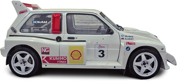 Colin McRae's Metro 6R4 being prepared by JEMS Race Engineering