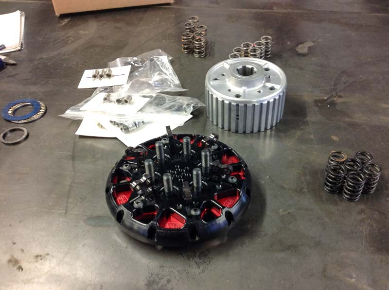 The drag bike's Hays drag race multi set up clutch kit ready for installation